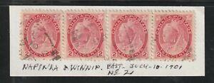 Canada NAPINKA & WINNIPEG RPO No 2 East Squared Circle QV 2c x4 Numeral 1901