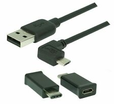 0,2m High Speed micro USB 2.0 Kabel(90° Winkel) + USB-C/Micro-USB Adapter(56KΩ)