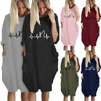 Women Baggy Casual Shirt Dress Long Roll Sleeve Winter Fall Tunic Oversized Tops