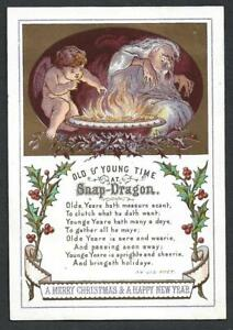 Y39 - OLD AND YOUNG TIME PLAY SNAP-DRAGON - GOODALL - VICTORIAN XMAS CARD