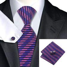 Mens Pink And Purple Jacquard Silk Tie+Hanky & Cufflinks Matching Set 123