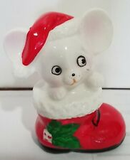 Adorable Used Ceramic Figurine of Mouse in a Christmas Stocking, 2½ inches tall