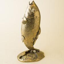 Vtg Solid Brass Koi Fish Carp Statue Vase Chinese Japanese Ornate Octopus Crab