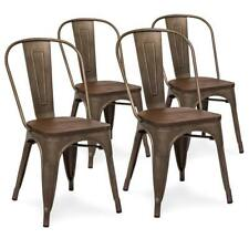 4 Metal Distressed Industrial Antique Style Dining Kitchen Chairs Wooden Seat
