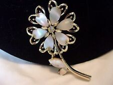 """Vintage Estate Flower Gold Plate Rhinestone Mother of Pearl Brooch Pin 2 5/8"""""""