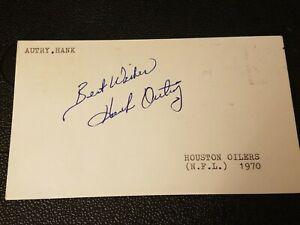 Hank Autry AUTOGRAPHED GPC Postcard 3x5 index card - Houston Oilers