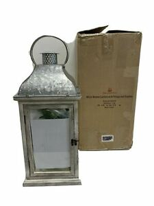 Balsam Hill White wooden Lantern with Foliage and Candles NEW/ Open Box