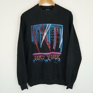 Vintage 90's New York Usa graphic print Logo sweatshirt Retro SZ Medium (E9799)