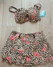 LEOPARD & ROSE PRINT BIKINI Size 10 12 14 NEW swimming costume top bottoms skirt