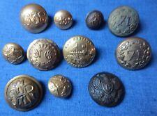 Antique Military Civil War era brass Button lot