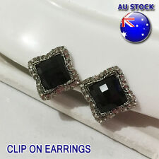 Classic 18K White Gold Plated Black CZ Crystal Square Ear Clip On Earrings