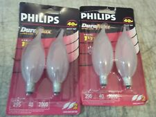 2 Pks 4 Light Bulbs 40W Philips Bc40Ba9C/F/Ll Ba9 Incandescent Candelabra E12
