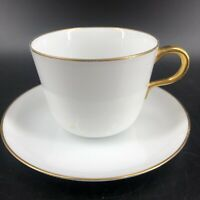 Okura White & Gold Teacup & Saucer Japan Japanese