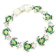 Green Sea Turtle Fashionable Bracelet - Enamel - Magnetic Clasp - Silver Plated