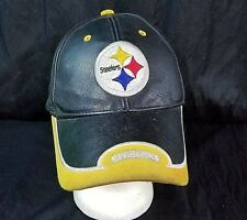 Pittsburgh Steelers Hat Distressed Leather Strapback NFL Football Cap