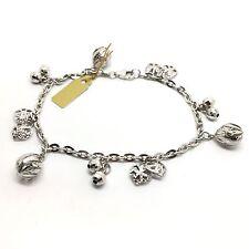 18k white gold diamond cut balls and hearts charm bracelet 8.7g
