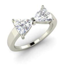 1.85 Ct White Topaz Bow Shape Engagement Ring in 925 Sterling Silver Free Ship