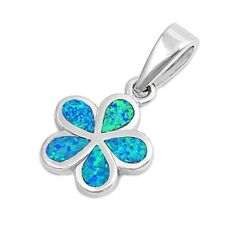 Silver Pendant Plumeria Blue Lab OPal Inlay Sterling 925 12mm Beautiful Design
