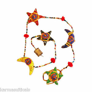 FAIRTRADE STARS AND MOONS HANGING MOBILE STRING DECORATION HANDMADE IN INDIA