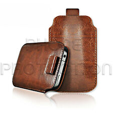 LEATHER PULL TAB SKIN CASE COVER POUCH FOR VARIOUS PHONES/MOBILES