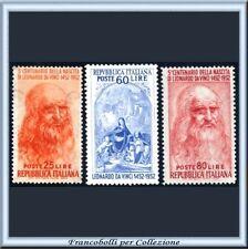 1952 Italia Repubblica Leonardo da Vinci n. 686/688 Nuovi Integri **