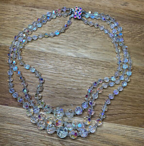 Beautiful Three Strand Aurora Borealis Crystal Beaded Necklace