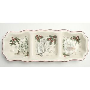 Better Homes and Gardens Heritage Winter Forest Divided Relish Tray/Server  NEW