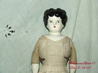 VINTAGE ANTIQUE CHINA HEAD ARMS AND LEGS ORIGINAL DRESS  16'' TALL DOLL
