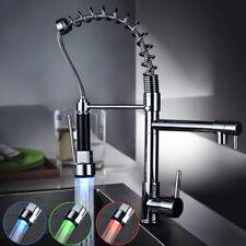 Chrome Finish Single Hole Spring Kitchen Sink Faucet LED Light Spray Mixer Tap