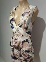 size 8 Sheike peplum fitted pencil dress white vintage floral