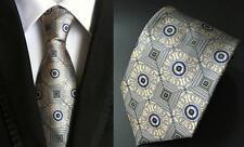 Mocha and Blue Patterned Handmade 100% Silk Tie