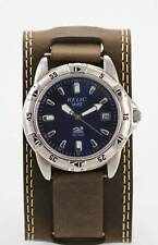 Relic Watch Men Blue Stainless Steel Silver Brown Wide Leather Date 50m Quartz