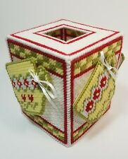 New Plastic Canvas Tissue Box Cover Multi-Colored/Sided Tea Coffe Cup Mug Drink
