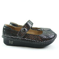 Alegria Pewter Shimmer Geo Leather Mary Jane Shoes PAL-532  Eur 40 US 9 -9.5