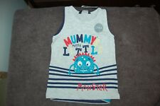 George 2 Sleeveless T Shirts 1 Little Monster 1 Striped Age 1-1.5 Years BNWT