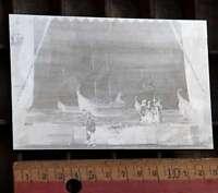 SCHIFFE SOLDATEN Druckplatte original aus Druckerei Druckstock Handsatz Bleisatz