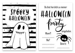 Einladungskarten Halloweenparty 6-teilig, Einladung Gespenst, Gruselparty