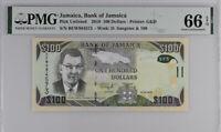 Jamaica 100 Dollars 2018 P 95 e Gem UNC PMG 66 EPQ