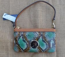 Dooney & Bourke Python/Snake Skin Embossed Leather Large Wristlet /Clutch