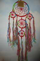 Handmade Medium Triple Cotton  Rainbow  Dreamcatcher with Tassles~AG13~uk seller