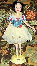 """Disney 19"""" Porcelain Snow White Doll w/ Stand The Brass Key Inc"""