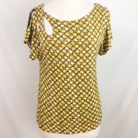Meadow Rue Anthropologie Lausanne Pullover Blouse Bubble Print Rayon M A08-3