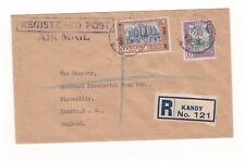 CEYLON 1953 1 RUPEE 15 CENTS 2 STAMPS REGISTERED KANDY AIR MAIL ENVELOPE TO UK