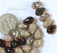 Tear Drop Beads, 6x9mm, Opaque & Transparent Purple w/Picasso Finish, 25 Beads