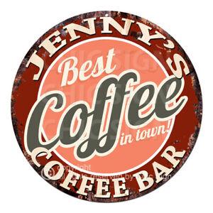 CBCB0282 JENNY'S COFFEE BAR Tin Sign Mother's day Birthday Christmas Gift Ideas