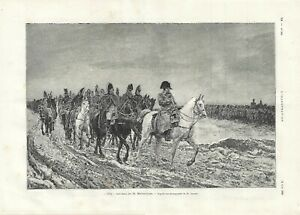 Stampa antica NAPOLEONE A CAVALLO nel 1814 Meissonier 1890 Antique print