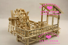 3D Wooden Puzzle House model waterwheel mill turn kit