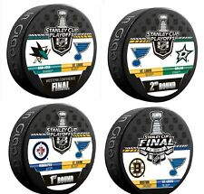 2019 ST LOUIS BLUES STANLEY CUP FINAL 4 PUCK SET WESTERN CONFERENCE +1ST 2ND RDS