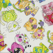 Colourful Happy Calico Cats on White Loralie Designs Quilting Fabric FQ or Metre