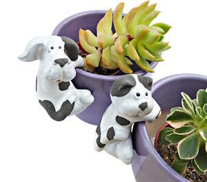 Cat Dog Plant Pot Hanging Decorative Ornament Hanger Ceramic Garden Black White